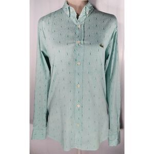 Lacoste Womens Sz M Blue Button Down Career Top